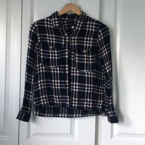 Tops - Navy Blue and Maroon Flannel